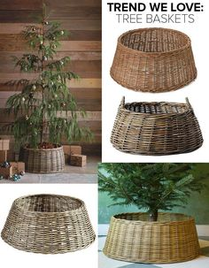 Looking to refresh your holiday decor? Forgo the standard skirt and try a tree basket. Looking to refresh your holiday decor? Forgo the standard skirt and try a tree basket. Christmas Tree In Basket, Noel Christmas, Country Christmas, Xmas Tree, Christmas Tree Base Cover, Christmas Holiday, Christmas Tree Stand Cover, Christmas Tree Skirts, Christmas Lights