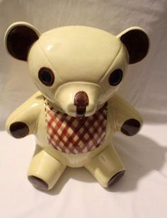 Vintage N.S. Gustin Hand Painted Plaid Bib Teddy Bear Cookie Jar #Cookiejar #Vintage #Teddybear #NSGustin