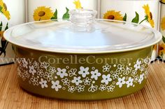 "Pyrex Spring Blossom Green 664 round casserole (4 Quarts) known as the ""Big Bertha""."