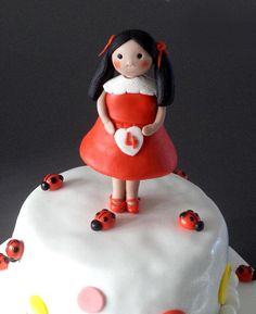Little Girl in Red Fondant Edible Birthday Cake by allsugarheart