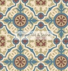 See Additional Designs: CEMENT TILES COLLECTION AMALIA Encaustic Tile Design Tile size: 8″x 8″ (20×20 cm) Tile thickness: 5/8″ (1.60 cm) Tile weight: 3 lbs (1.3 kgs) 60 colors available (see our color palette)  AMALIA 02 Cement Tiles  S-111 D'HANIS RED S-901 BRUN CAMOIS S-104 CAFE S-119 BLUE