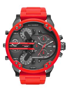 """Daddy Red Watch Be the best-accessorized guy in the room with the red metal Diesel Mr. The oversized gunmetal dial features the Diesel logo and """"Only the Brave"""" tags. Daddy, Casual Watches, Cool Watches, Men's Watches, Citizen Watches, Analog Watches, Diamond Watches, Relogio Invicta Pro Diver, Bracelet Silicone"""