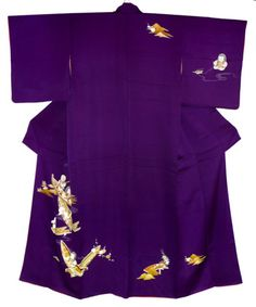 An exquisite purple kimono with children in boats, from www.wafuku.co.uk
