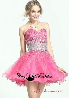 Full Rhinestone Beaded Waistline Sparkly Pink Short Beaded Party Dress 2014