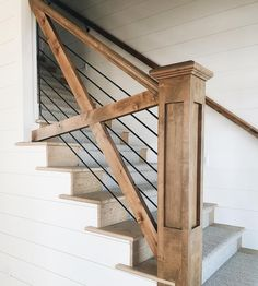 Guide to simple stair railing ideas for interior designs. See pictures of stair railings including contemporary, traditional, rustic & modern designs. stairs 16 Creative Stair Railing Ideas To Develop a Focal Point in Your Home Farmhouse Stairs, Modern Farmhouse, Farmhouse Style, Rustic Modern, Modern Loft, Farmhouse Furniture, Farmhouse Design, Design Hall, Staircase Railings