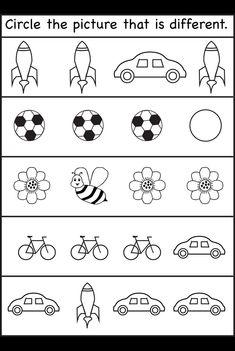 Kreise das Bild ein, das anders ist - 4 Arbeitsblätter für Kleinkinder #anders #arbeitsblatter #kleinkinder #kreise