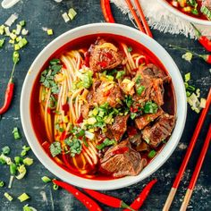 Spicy Beef Noodle Soup - red, spicy, beefy broth and chewy noodles!