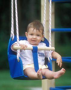 Kid Swing- like the canvas bottom and the wooden handlebar Hammock Swing, Hammocks, Skateboard Swing, Outdoor Fun, Outdoor Decor, Kids Swing, Swings, Children, Kid Stuff