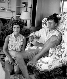 Jack Kennedy as Senator with his fiancee Jackie Bouvier in his parents' living room