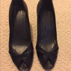 "Stuart Weitzman black leather peep toe heels 2"" heel black leather peep toe with patent heel. Stuart Weitzman Shoes Heels"