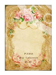 Victorian Flower Rose Frames Postcard ledge Border