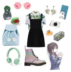 """""""Fluorescent iridescence"""" by sunflower-fairy ❤ liked on Polyvore featuring Dr. Martens, Dolce&Gabbana, Lomography, Ray-Ban, Sugarbaby, Gund and Urbanears"""