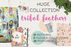 37 feather patterns, 20 postcards by Blue Lela Illustrations on @creativemarket