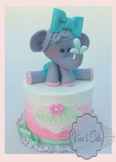 By far my favorite baby elephant baby shower cake! ❤ -Elephant baby shower cake