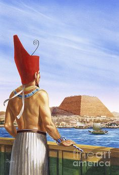 A pharaoh in ancient Egypt watching the construction of a pyramid across the Nile by Christian Jégou Ancient Egypt Art, Old Egypt, Ancient History, Art History, Egyptian Drawings, Egyptian Art, Egyptian Mythology, Egyptian Goddess, Prince Of Egypt