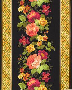 Estate Gardens - Rose Garland Stripe - Black