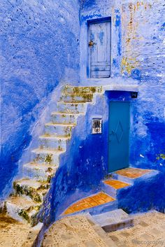 Double Doors and Stairs, Chefchaouen, Morocco