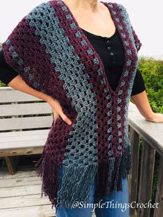 Crochet Simple Crochet Poncho pattern, Easy crochet poncho top, Granny Stitch poncho, Easy women's sweater p - Poncho Crochet, Mode Crochet, Crochet Baby, Knitted Shawls, Crochet Vests, Crochet Shirt, Crochet Sweaters, Crochet Jacket, Knitting Patterns
