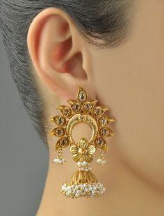 Buy Golden Ivory Floret Kalasha Jhumkas 92.5% Sterling Silver Southern Pearls Zircon Online at Jaypore.com