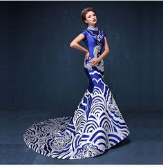 Traditional Chinese Clothing: Cheongsams Brand Name: East Grace Fabric Type: Grosgrain Material: Polyester Model Number: MW002 Product categories: chinese evening dress Color: white,blue Size: S,M,L,X