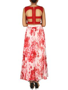 10e312b096 123005 INR for the red crop top and floral skirt by Parul Gandhi. Dress by designer  Parul Gandhi in designer clothing by online designers.