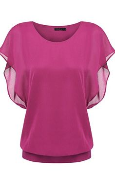 Zeagoo Womens Loose Casual Short Sleeve Chiffon Top Tshirt Blouse Rose Red Small -- Check this awesome product by going to the link at the image.