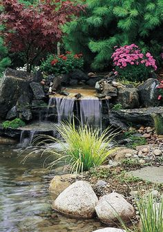 Tiered Waterfall Pond with Stone Hardscape and Plantscape contemporary landscape by Campbell & Ferrara Alexandria, VA Backyard Water Feature, Ponds Backyard, Backyard Waterfalls, Garden Ponds, Koi Ponds, Pond Landscaping, Landscaping With Rocks, Design Fonte, Pond Design