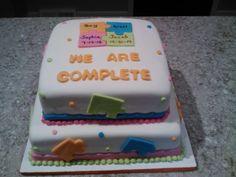 """Adoption """"gotcha"""" Puzzle Fondant Cake."""