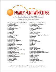 A list of outdoor games for kids that parents can employ to help encourage independent outdoor play List Of Outdoor Games, Jump Rope Games, Chinese Jump Rope, Summer Prints, Kid Activities, Outdoor Play, Families, Have Fun, Parents
