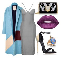 """""""Blue Coat"""" by marquaysab ❤ liked on Polyvore featuring Roksanda Ilincic, Topshop, Casadei, Jimmy Choo, Lime Crime and Kate Spade"""