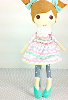 Custom Fabric Cloth Doll - Bless Her Heart Doll - Light Brown Hair - Handmade Rag Doll