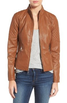 Free shipping and returns on GUESS Faux Leather Jacket at Nordstrom.com. Corset-laced details create a curve-hugging fit in a softly structured faux leather jacket topped with a face-framing barrel collar.
