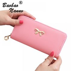 9bcad5497f3d Women Wallets 2018 New Lovely Bow Solid Color Fashion Girls Female Change  Clasp Purse Money Coin