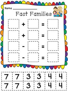 Fact Families Cut and Pastes!