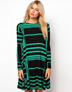 ASOS Swing Dress In Monochrome Angle Print