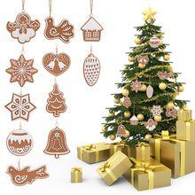 11 Stks Leuke Kerstboom Hangers Animal Sneeuwvlok Koekjes KERST Decoratie voor Thuis Zachte Aardewerk Klei Ornamenten(China)
