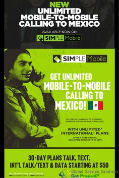 Now Available! New Unlimited Mobile-To-Mobile Calling to Mexico. For more Information, please contact: sales@gotprepaid.com