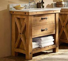 Benchwright Reclaimed Wood Single Sink Vanity   Wax Pine Finish