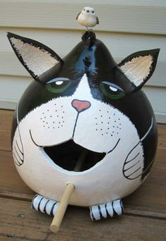 Cat birdhouse made from a gourd