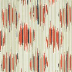 Orange Navy Upholstery Fabric  Modern Taupe by PopDecorFabrics