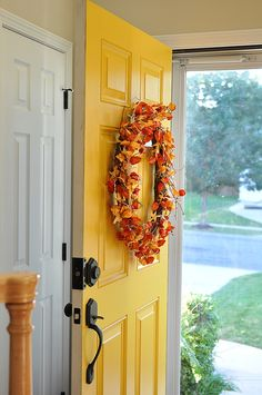 Yellow front door. I just love it!