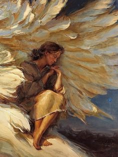 In The Shadow Of Your Wings Daniel F. 18 x This is the painting that made me aware of who Daniel Gerhartz was. I have always loved the angels and angel wings.it touched my heart. Art Prophétique, Op Art, Image Jesus, Under His Wings, I Believe In Angels, Ange Demon, Prophetic Art, Angels Among Us, Guardian Angels