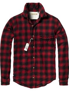 Red & Black Buffalo Check Flannel Shirt, by Scotch and Soda. Men's Fall Winter Fashion.