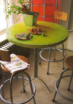 """Lime green table featured in Tricia Guilds book """"in Town"""""""