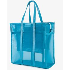 Balenciaga Medium Blue Mesh Bazar Shopper Bag (12.556.405 IDR) ❤ liked on Polyvore featuring bags, handbags, tote bags, shopping tote, shopping bag, tote purses, purse tote and blue totes