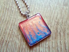 Beach necklace summer necklace coral necklace turquoise necklace mermaid necklace abstract art paints necklace resin necklace Pebeo by ResinJewelsbyAlice on Etsy