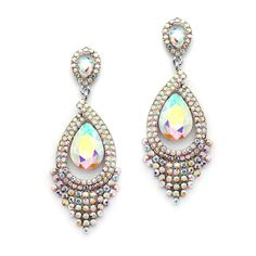 Spectacular Iridescent AB Statement Chandelier Earrings