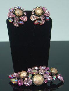 Regency Pink Rhinestone Oblong Brooch Set