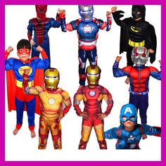 94ae9370a4 Christmas Boys Muscle Super Hero Captain America Costume SpiderMan Batman  Hulk Avengers Costumes Cosplay for Kids