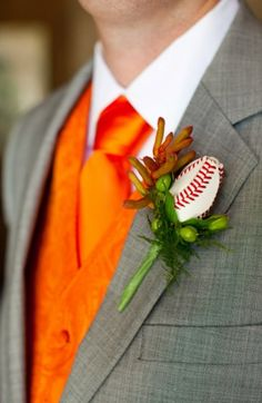 Baseball Rose Boutonniere Here is a picture of the groom's Baseball Rose Boutonniere. Softball Wedding, Sports Wedding, Wedding Fans, Wedding Themes, Wedding Designs, Wedding Order, Wedding Ideas, Themed Weddings, Wedding Details